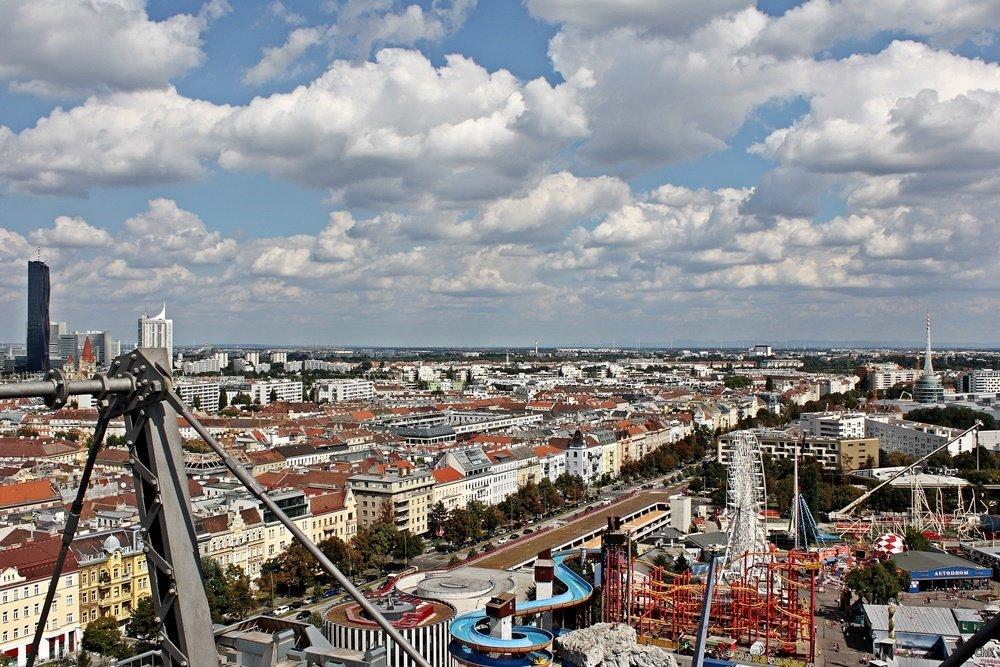 Prater, Blick vom Riesenrad über Wien