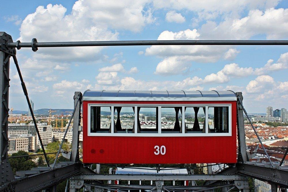 Prater, Gondel des Riesenrades, Blick über Wien