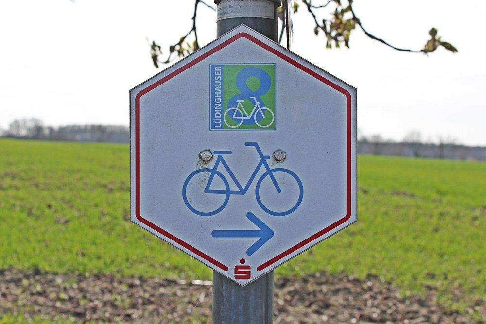Radtour im Münsterland, Fahrrad fahren, Münsterland, Lüdinghauser Acht, Lüdinghausen, Hinweisschild