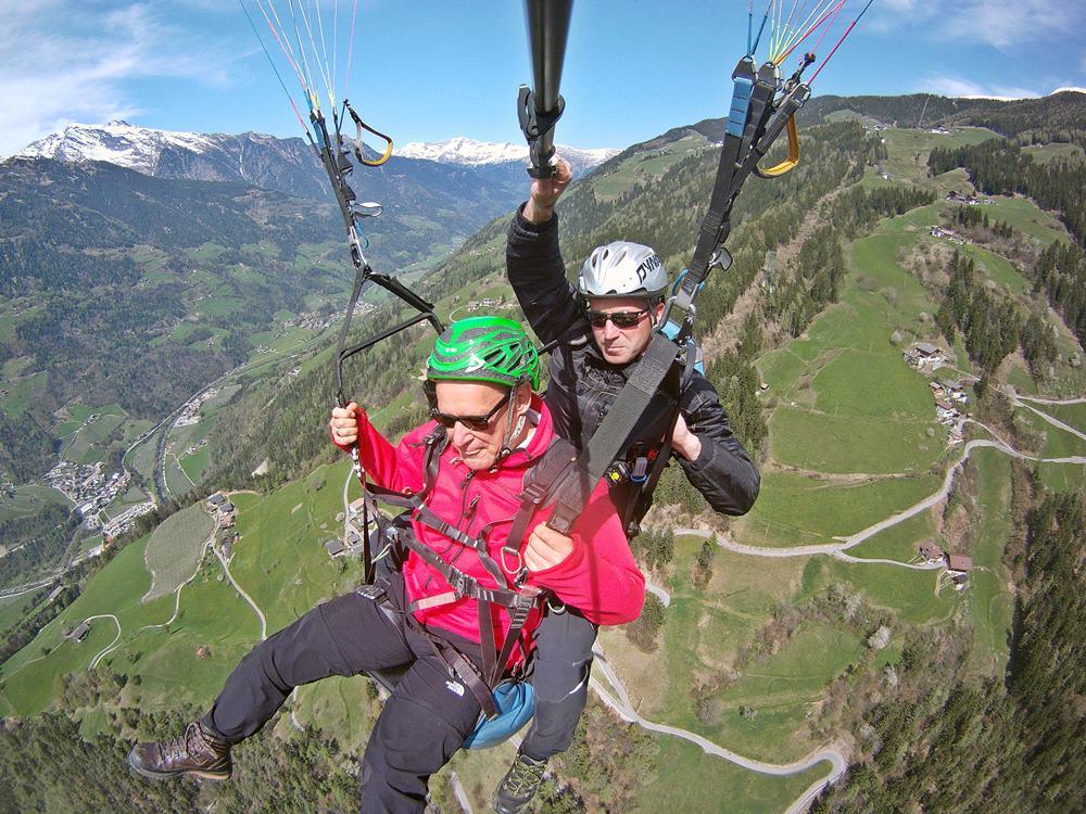 Gleitschirmfliegen, Tandemflug, Südtirol, Saltaus