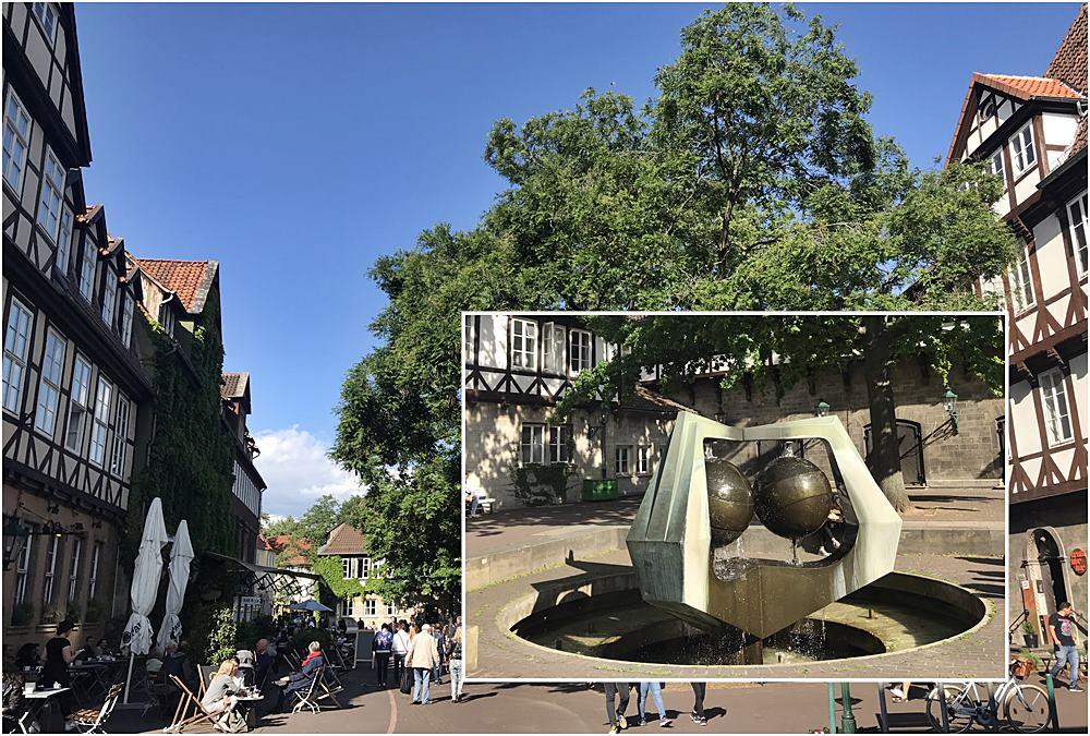 Ballhof, Hannovers älteste Turnhalle, Fachwerkhäuser, Brunnen, gemütlich sitzen, Der rote Faden in Hannover