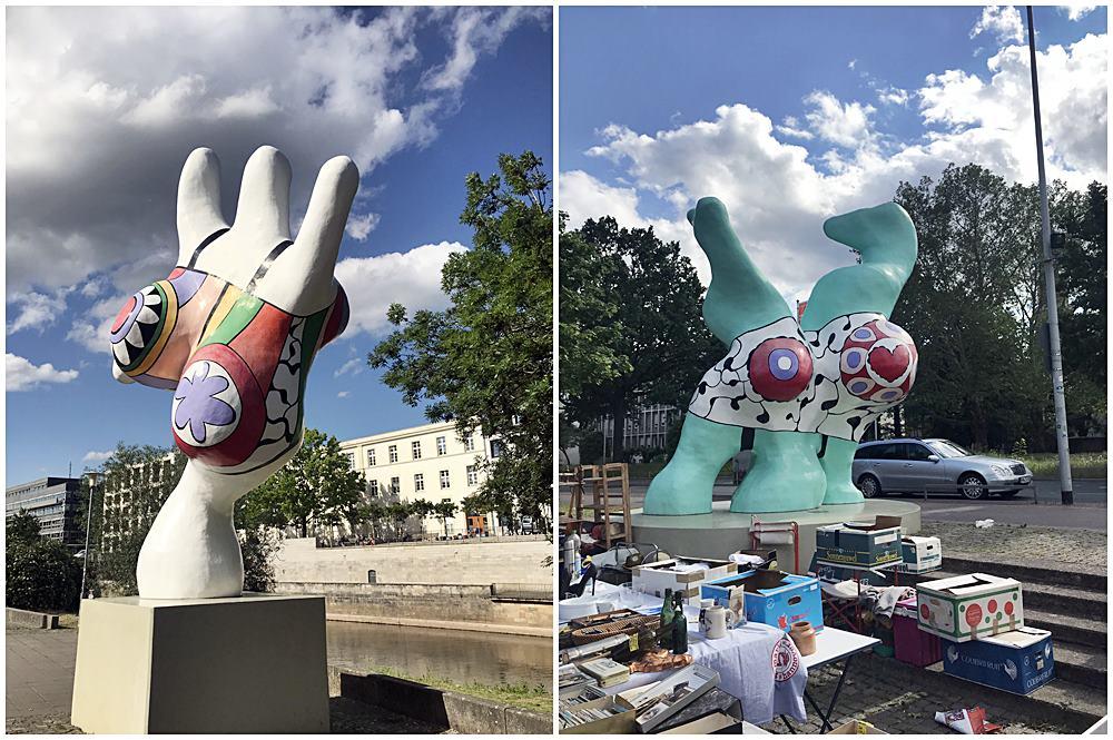 3 Nanas, voluminöse Skulpturen in leuchtenden Farben, ältester Flohmarkt Deutschlands, Leineufer, Der rote Faden in Hannover
