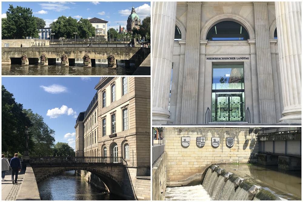 Leineschloss, Niedersächsischer Landtag, Leineschlossbrücke, Wasserspiele, Hannover, Der rote Faden in Hannover