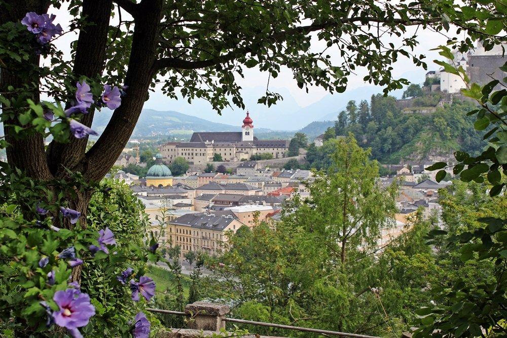 Ausblick durch Bäume vom Kapuzinerkloster auf Altstadt Salzburg