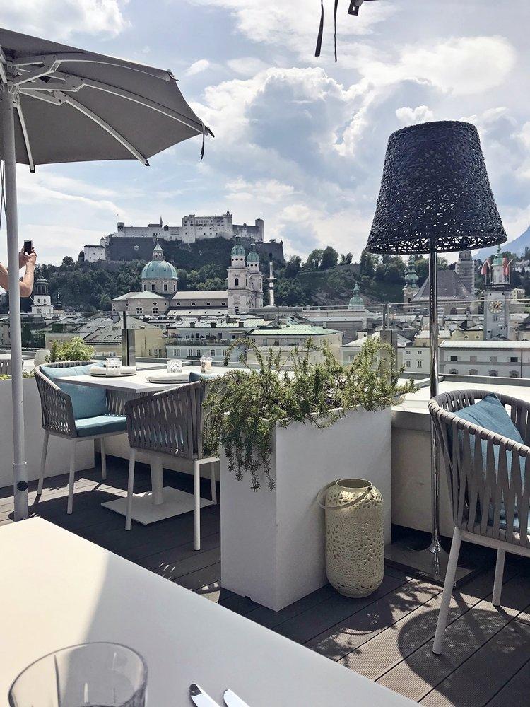 Aussicht von Roof Topbar Seven Senses Salzburg