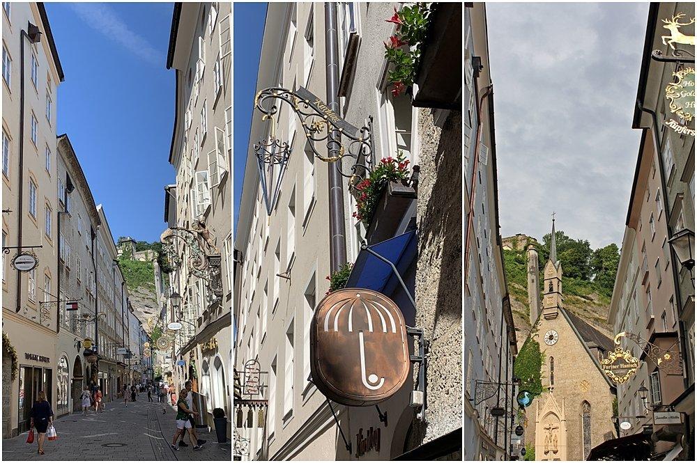Verschiedene Blickwinkel Getreidegasse Salzburg, Zunftzeichen, Hauseingänge und Durchhäuser. Wochende in Salzburg