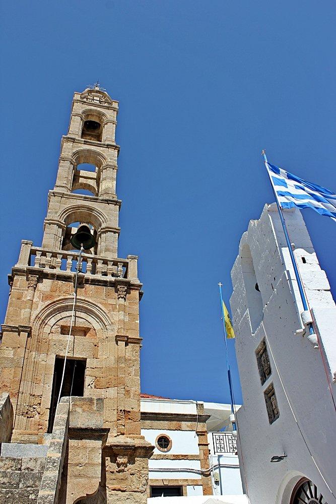 Kirchturm der Panagia Kirche in Lindos, Ausflugstipp für Lindos
